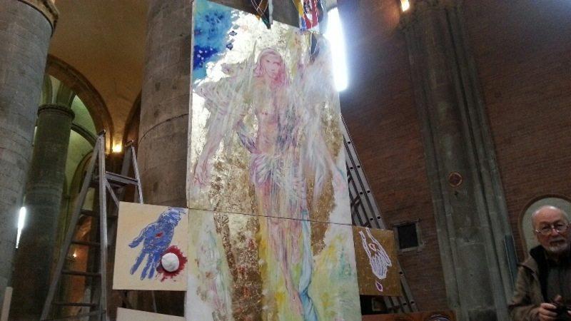 """Mons. Gianni Ambrosio – Benedizione Campanile del Duomo e dell'opera """"Il Risorto""""di Franco Corradini"""